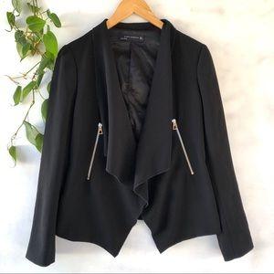 Zara black open front blazer zipper pockets small